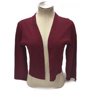 WHBM Ribbed Shrug Jacket Maroon Shortie SZ L